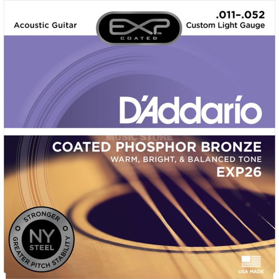 D'Addario EXP26 11-52 Coated Phosphor Bronze Custom Light Produktbild