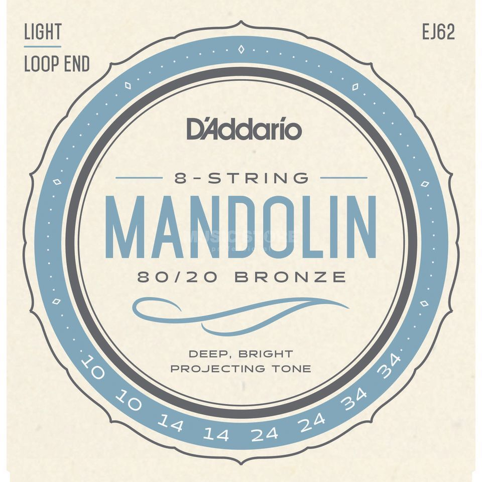 D'Addario Mandolin Strings J62 10-34 80/20 Bronze Loop End Produktbillede