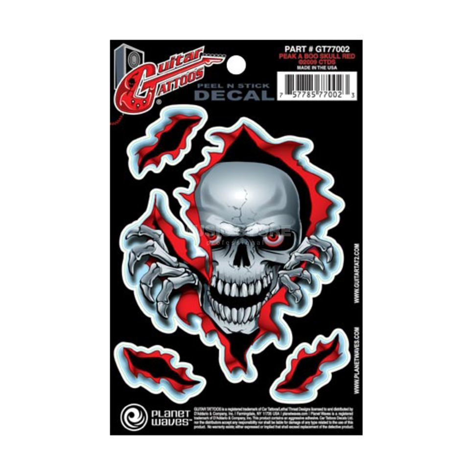 D'Addario Planet Waves Guitar Tattoo - Peak A Boo Skull, GT77002 Produktbillede