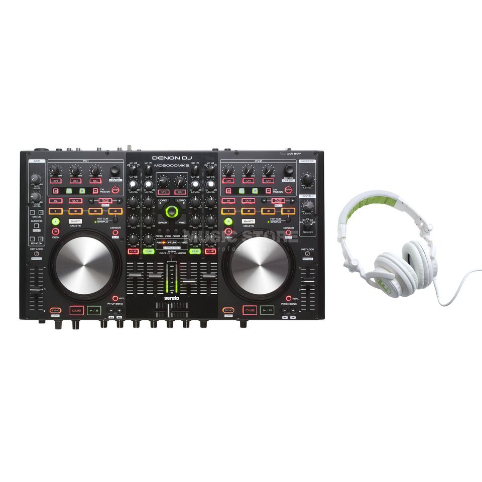 Denon MC6000MK2 + hD-1000 lime - Set Produktbillede