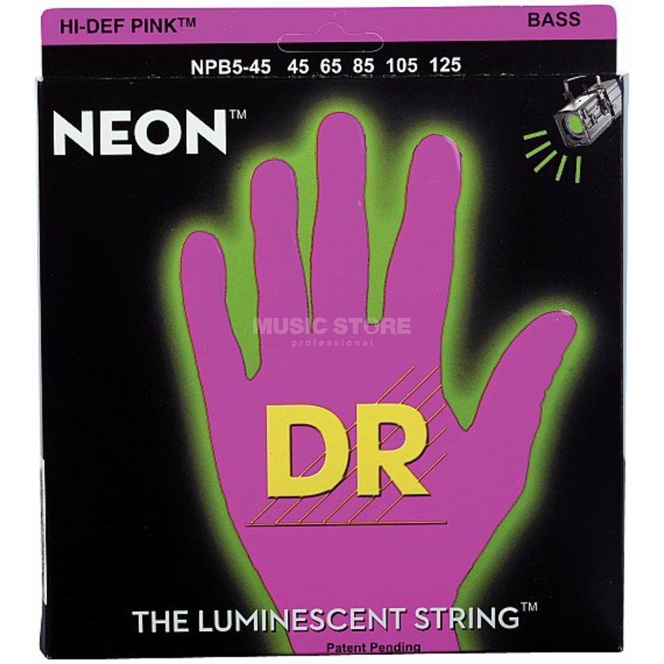 DR 5 Bass Strings 45-125 Hi-Def Neon Pink Neon NPB5-45 Product Image