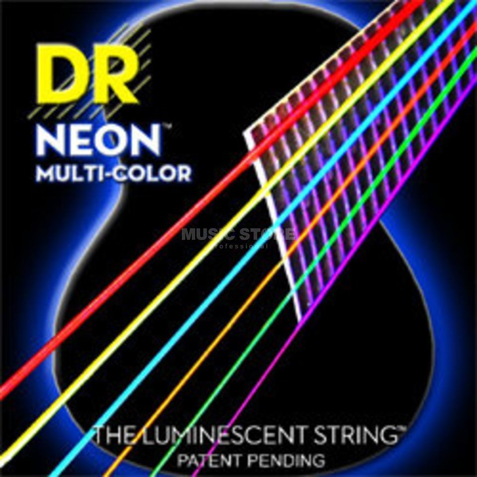 DR A-Guitar Strings 10-48 Hi-Def Neon Multi-Color MCA-10 Produktbillede