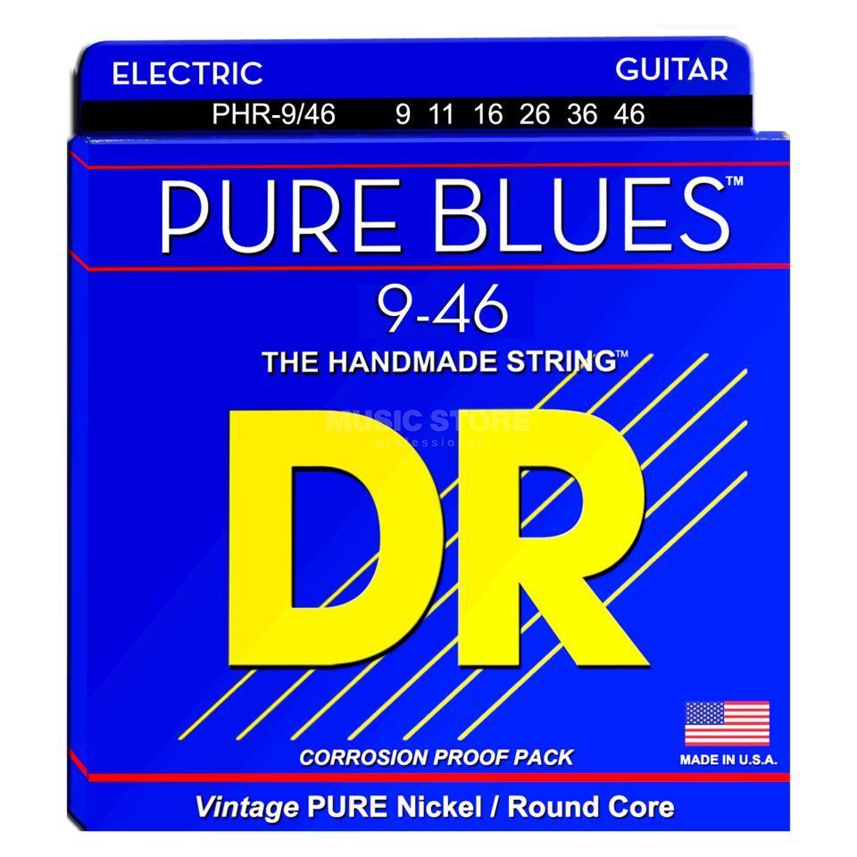 DR Cordes guitare électrique, 09-46,Pure Blues Nickel pur Image du produit