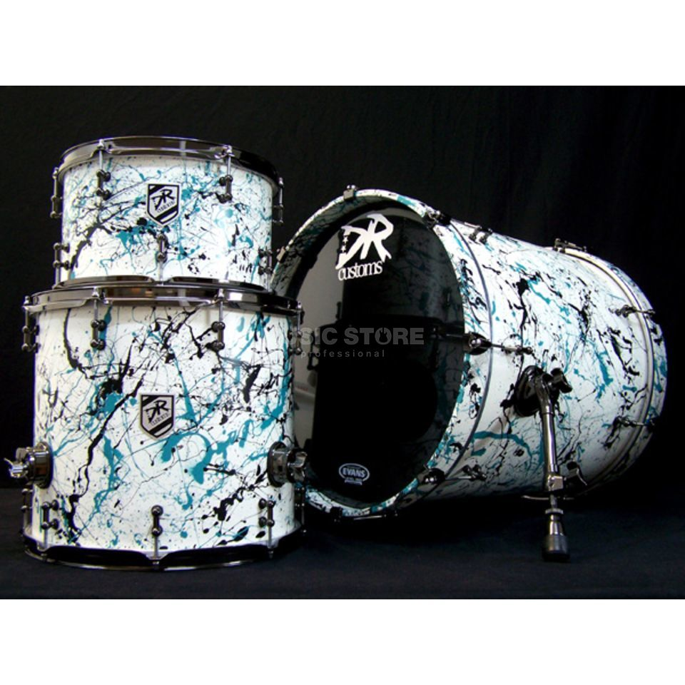 DR Customs Splatter ShellSet, #White, Turquoise/Black Splat. Produktbillede