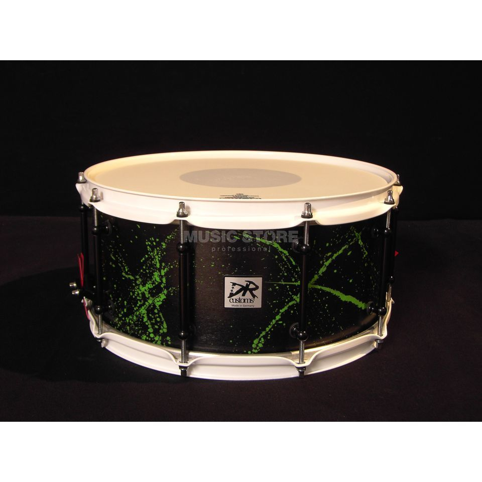 "DR Customs Splatter Snare 14""x6,5"", #Black Satin, Green Splatter Produktbild"