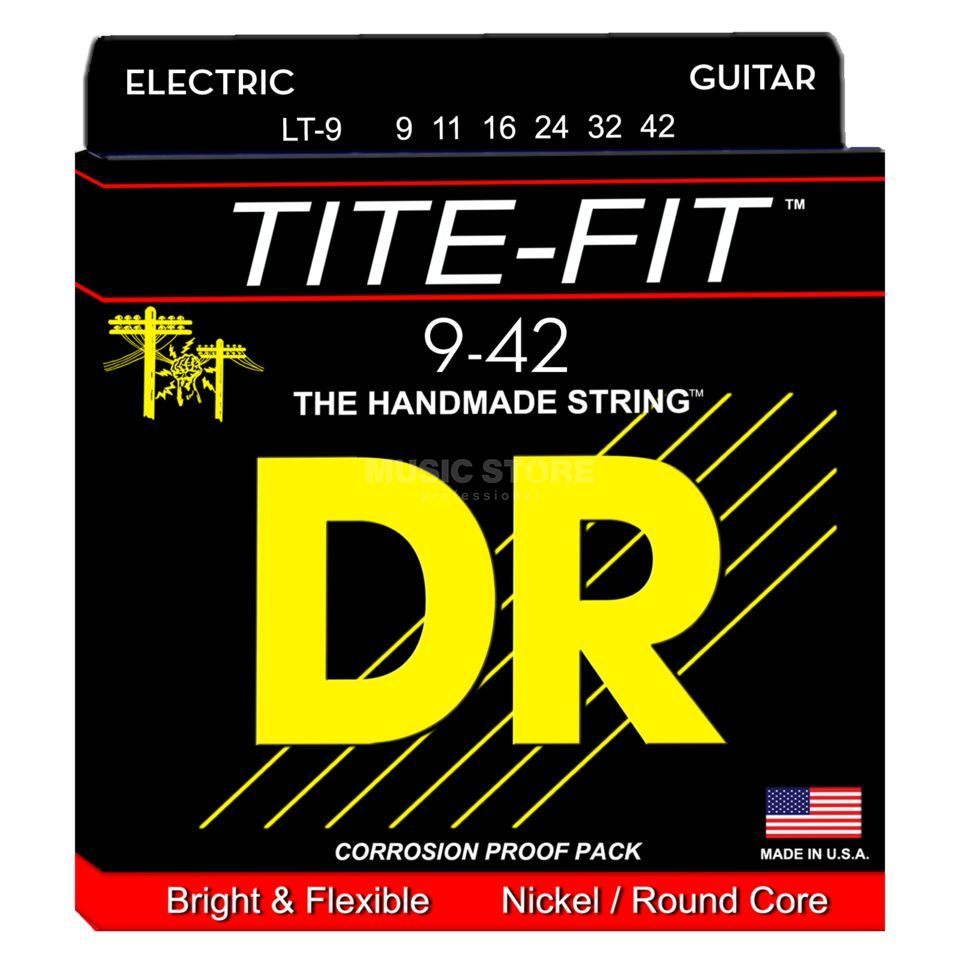 DR E-Guit.Strings 09-42 Tite Fit Nickel Plated Round Core Produktbillede