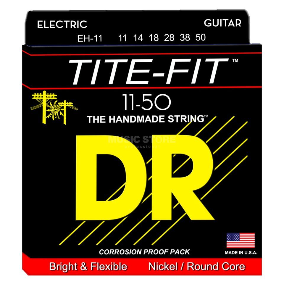 DR E-Guit.Strings 11- 50 Tite Fit Nickel Plated Round Core Produktbillede