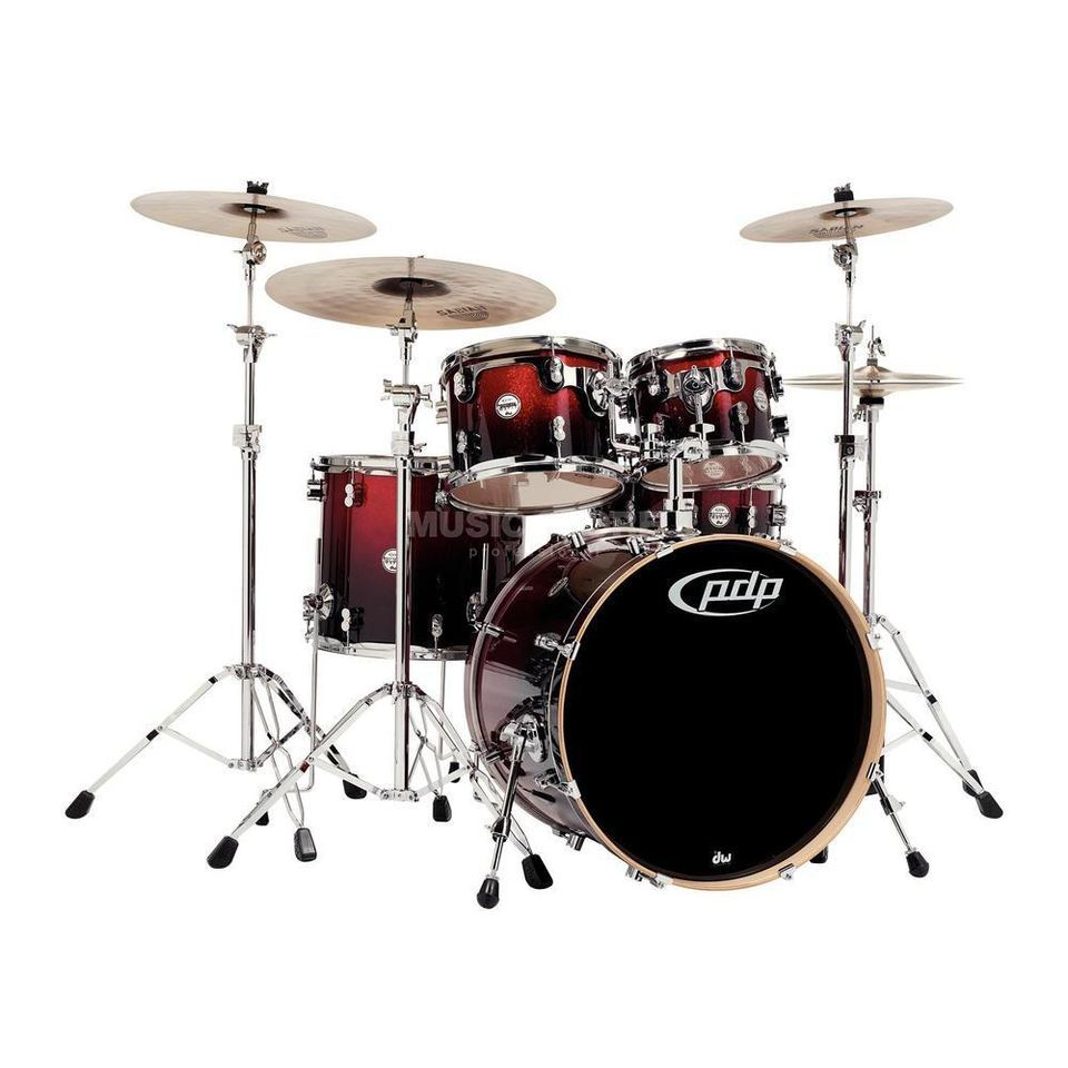 Drum Workshop PDP Concept Maple CM5, Red to Black Fade Product Image