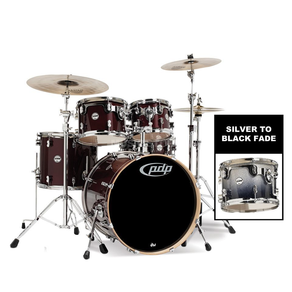 Drum Workshop PDP Concept Maple Studio CM5, Silver to Black Fade Produktbillede