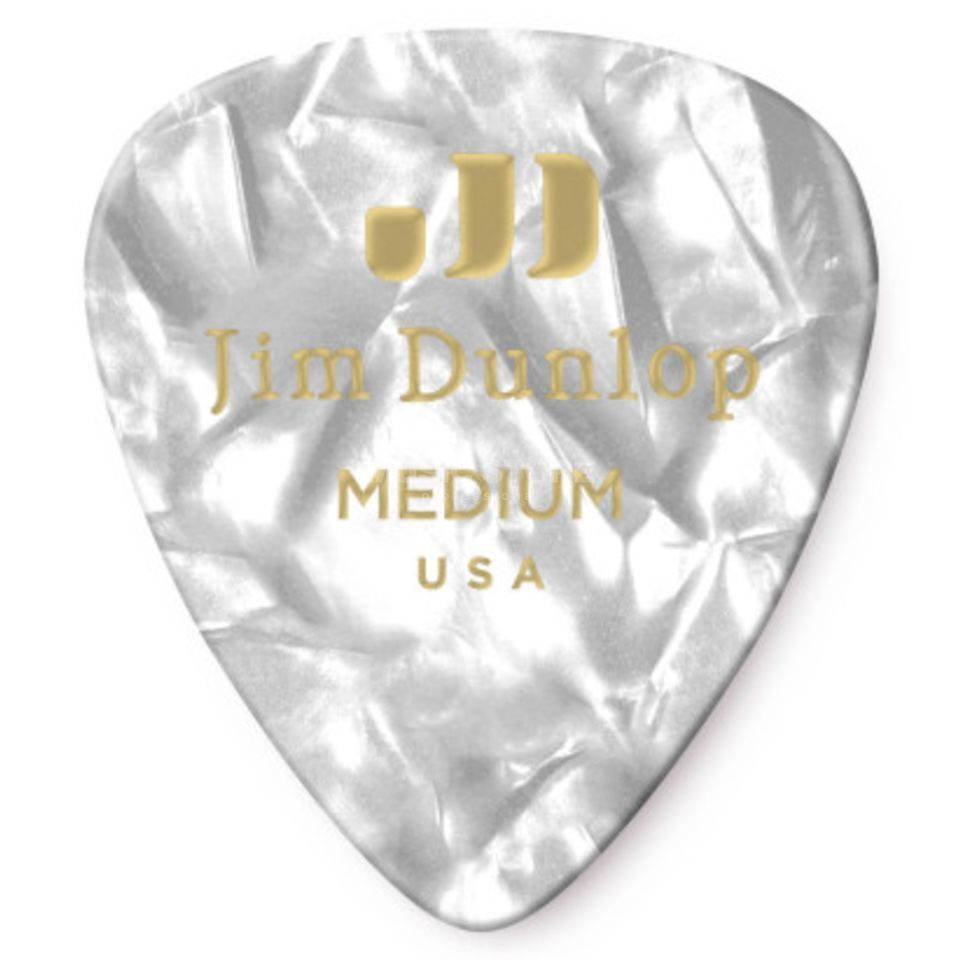 Dunlop Genuine Medium Picks Celluloid Box of 12, Pearl White 483 Produktbillede