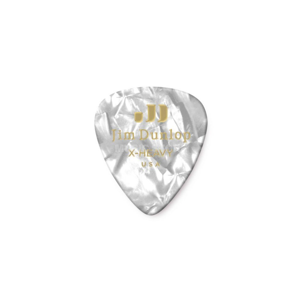 Dunlop Genuine Plectrum heavy Pearl White 483, 12 Picks Produktbillede