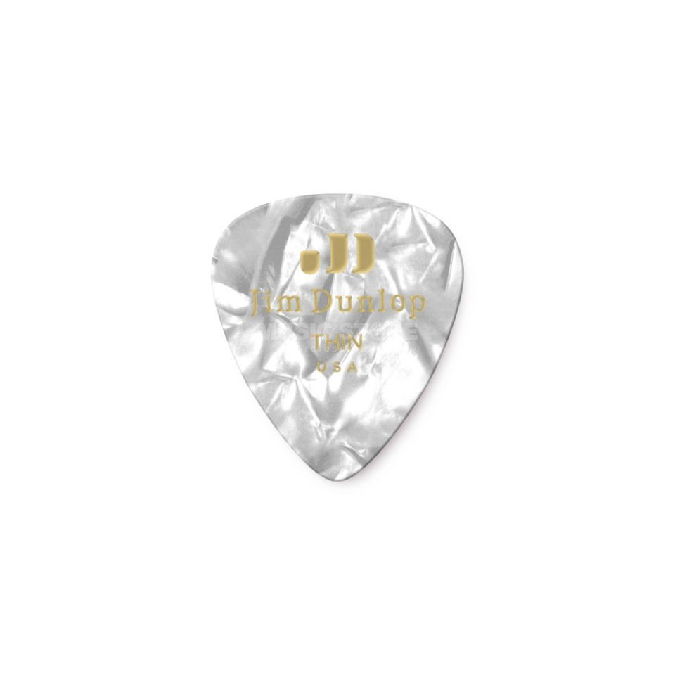 Dunlop Genuine Plectrum thin Pearl White 483, 12 Picks Produktbillede