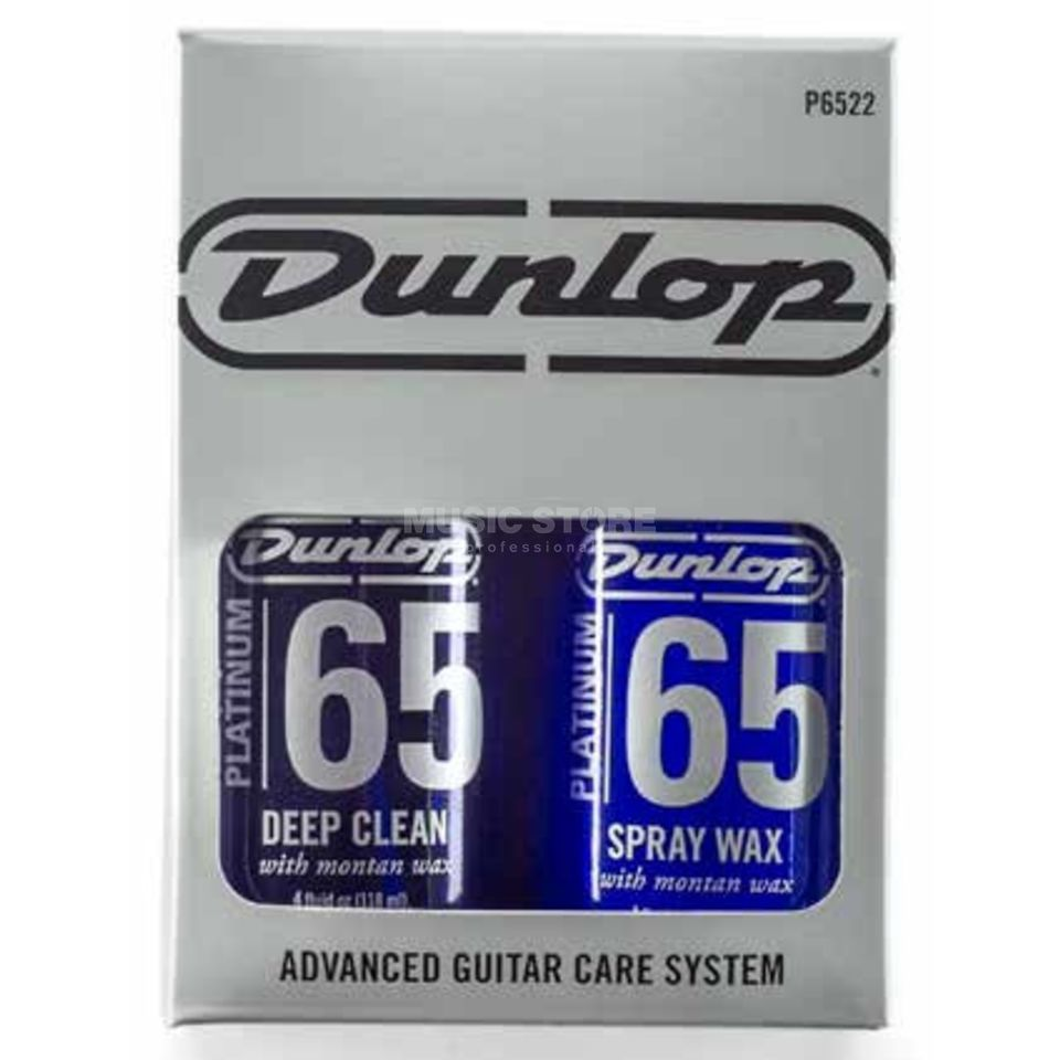 Dunlop Platinum 65 Advanced Guitar Care System Deep Clean, Spray Wax, 2 Tücher, P65 22 Produktbillede