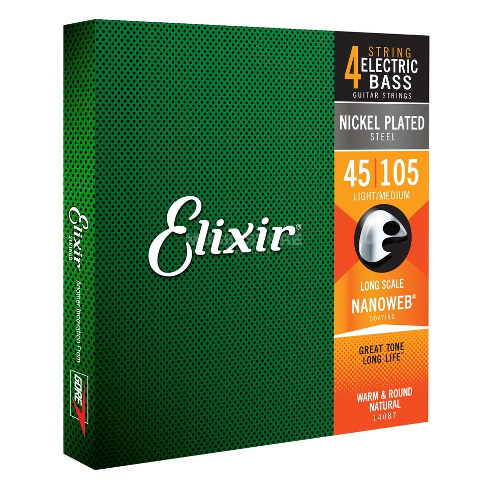 Elixir 4er Bass 45-105 NanoWeb X-Long 14087 Scale Medium Produktbild