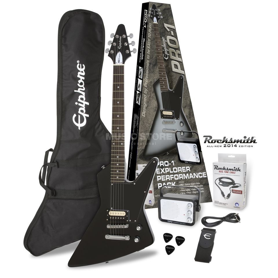 Epiphone PRO-1 Explorer Performance Pack Ebony Product Image