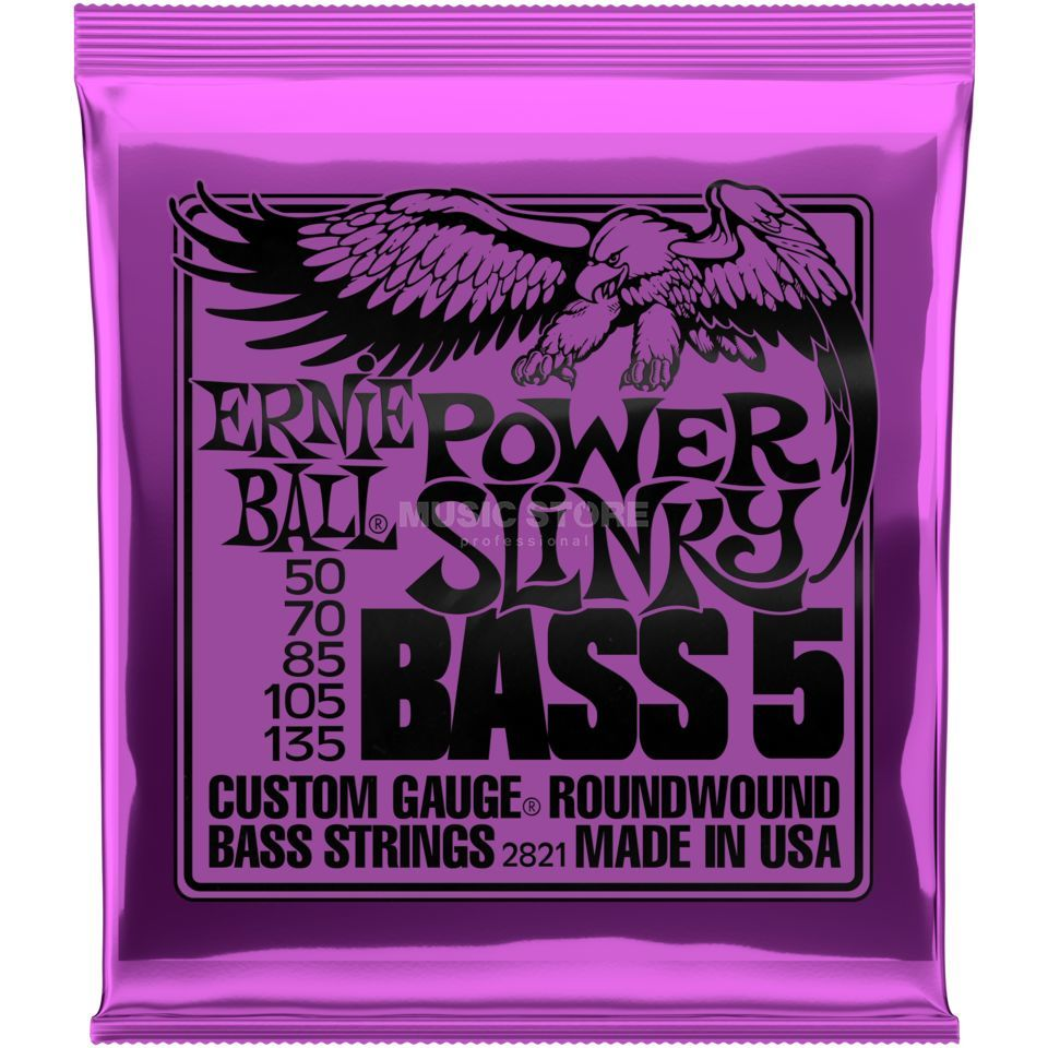 Ernie Ball Cordes basse,5er,50-135,Power, filet rond long diapason Image du produit