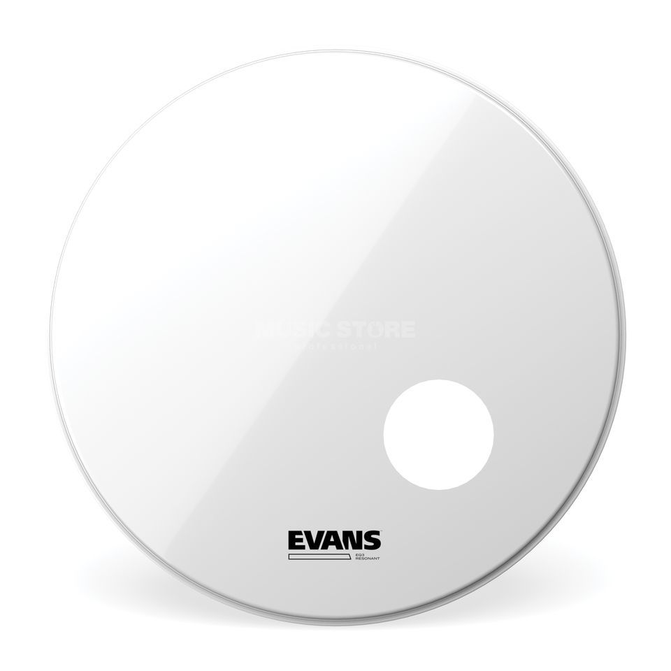 "Evans EQ3 Smooth White 24"", BD24RSW, Bass Drum Reso Product Image"