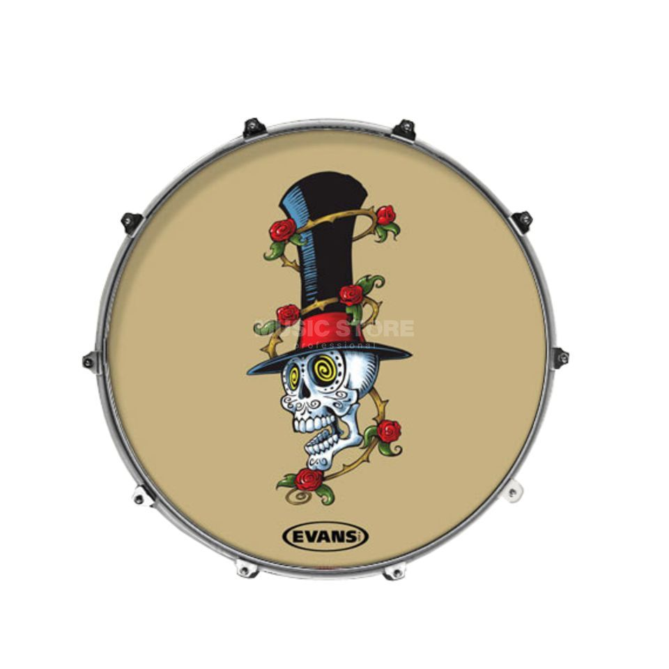"Evans ""Inked"" Bass Drum Front Head ""Hypno Skull"", 22"" Изображение товара"