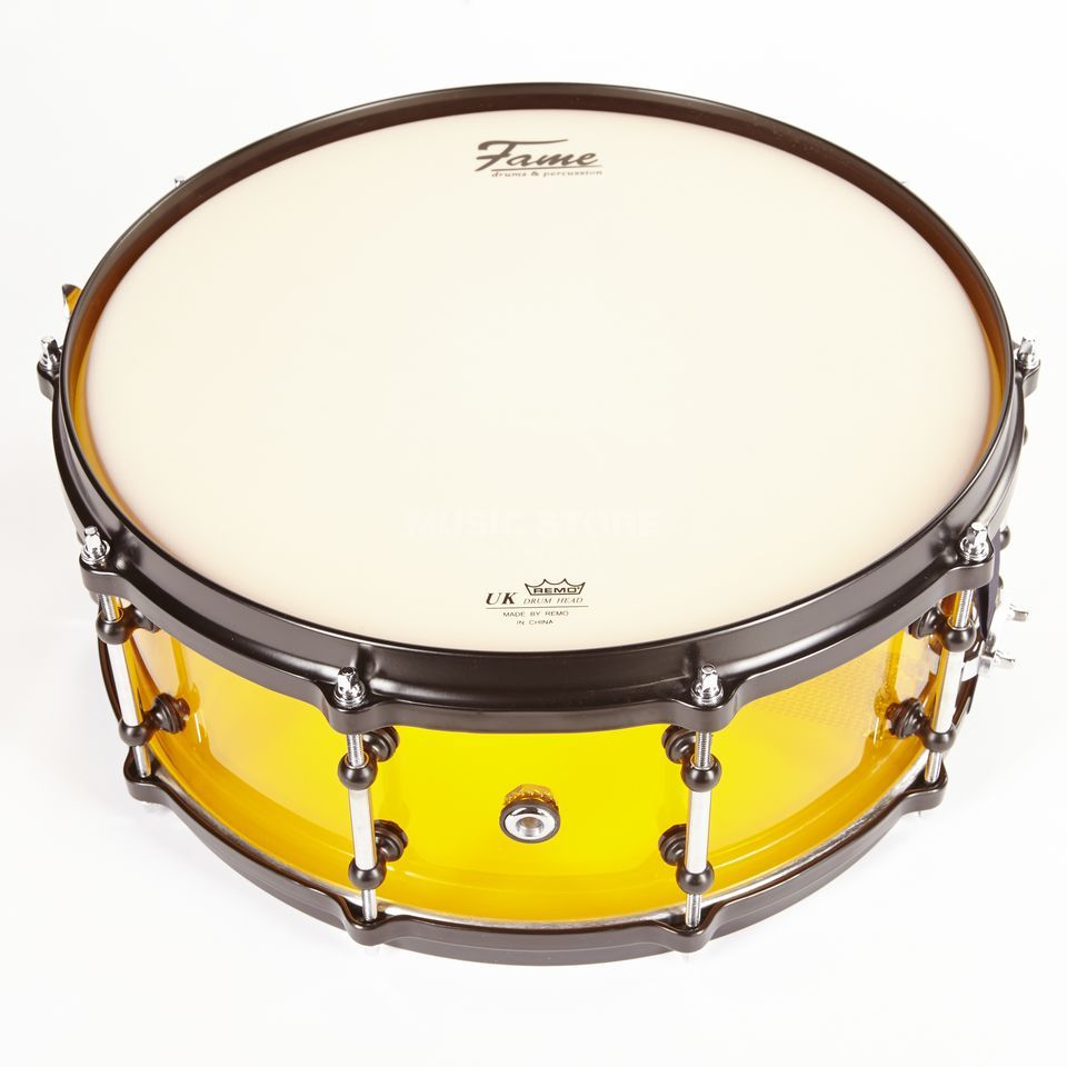 "Fame Acryl Snare 14""x5,5"", #Orange, Black HW Product Image"