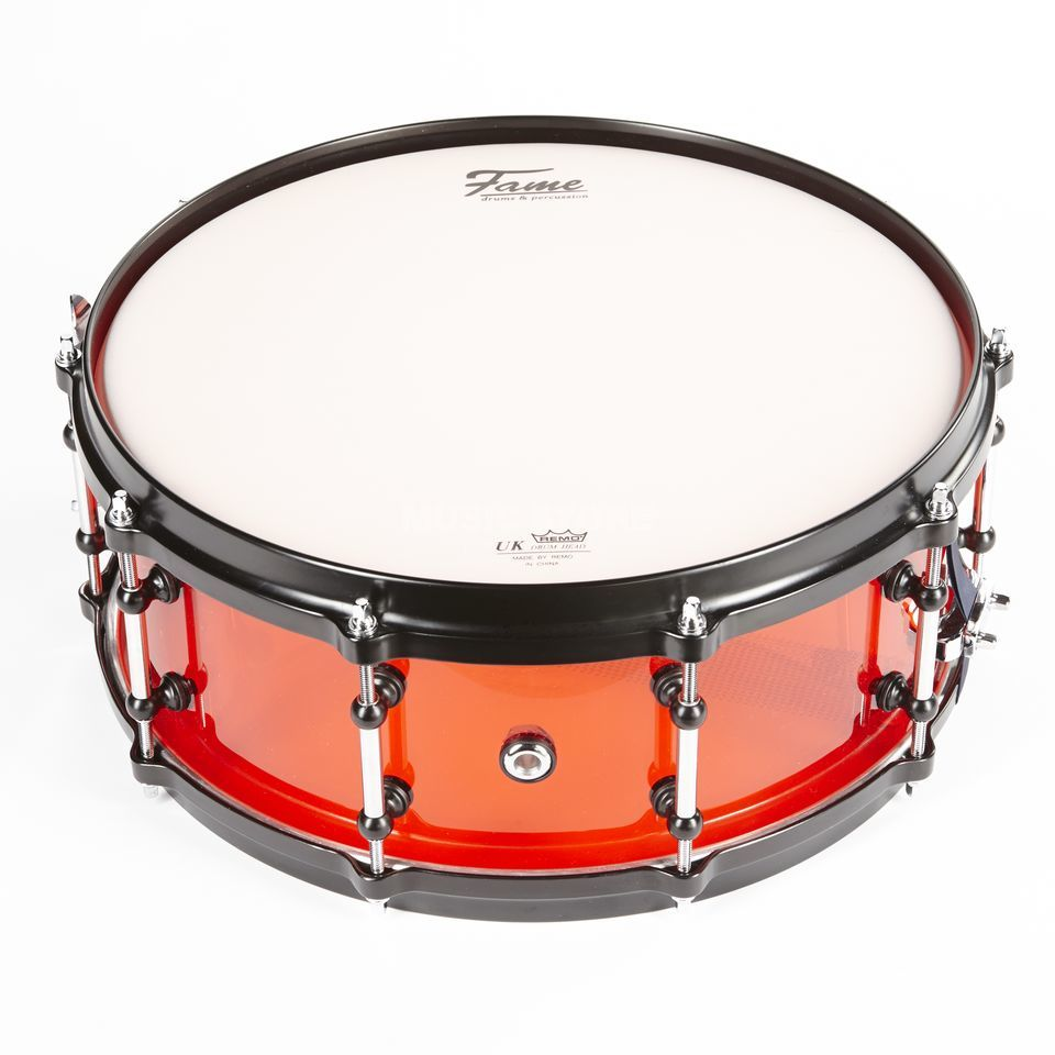 "Fame Acryl Snare 14""x5,5"", #Red, Black HW Product Image"