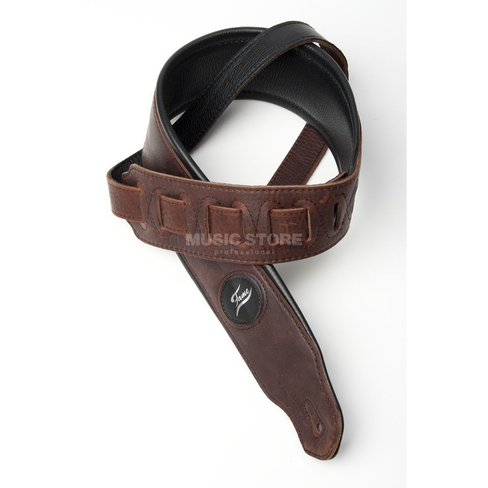 Fame Guitar Strap 653 Brown - Genuine Leather Zdjęcie produktu