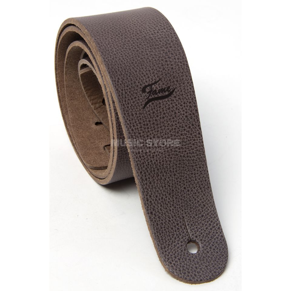Fame Leather Guitar Strap Raw II BR Brown Produktbillede