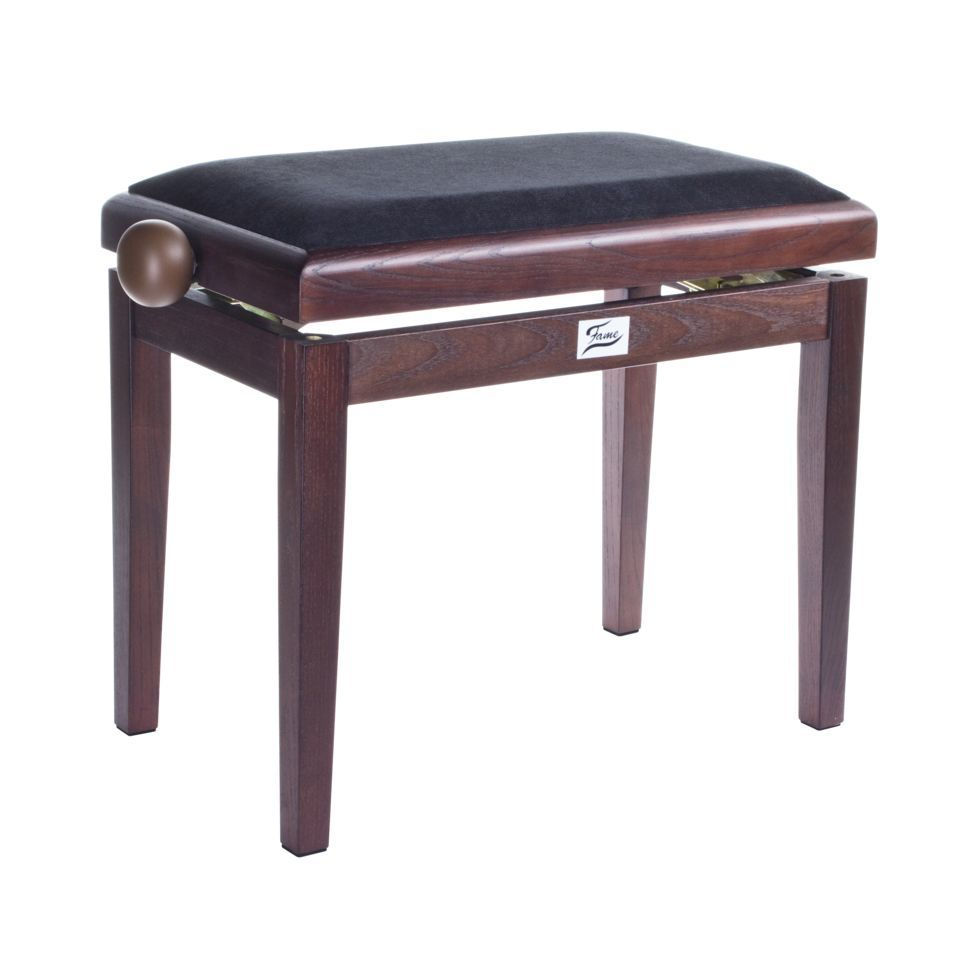 Fame Piano Bench dark walnut Velvet Black Produktbillede