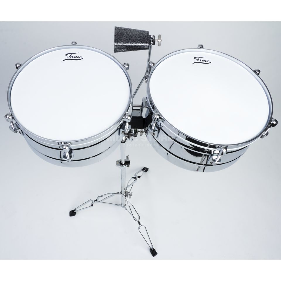 "Fame Timbales 14"" & 15"" TIM-4, incl. Cowbell & Stand Produktbillede"