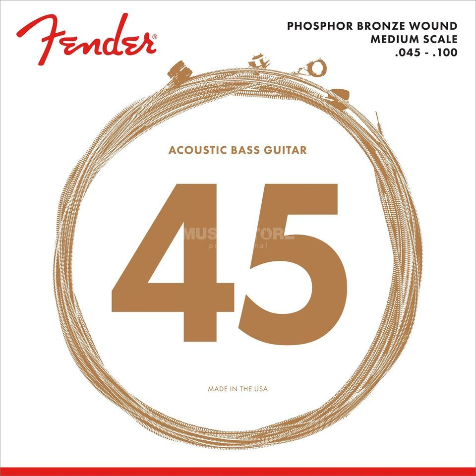 Fender 7060 Phosphor Bronze Acoustic Bass Strings Medium Scale 45-100 Immagine prodotto