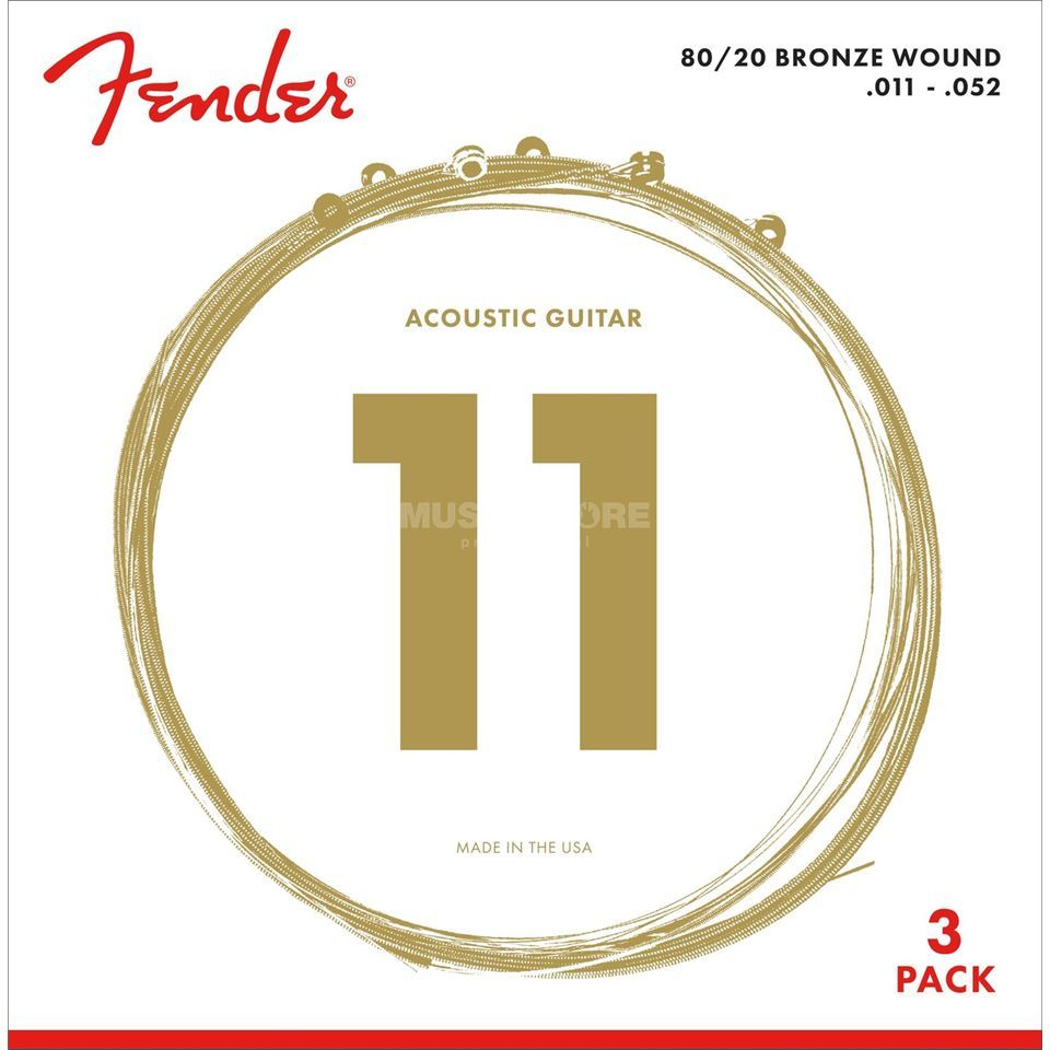 Fender A-Git. Saiten 70CL 11-52 3-Pack 80/20 Bronze Product Image