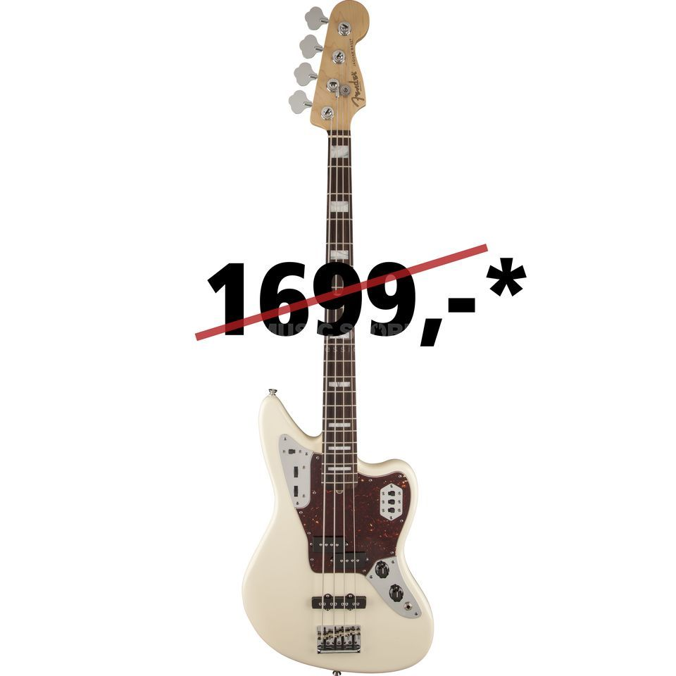 Fender Am. Std. Jaguar Bass RW OWH Olympic White Produktbillede