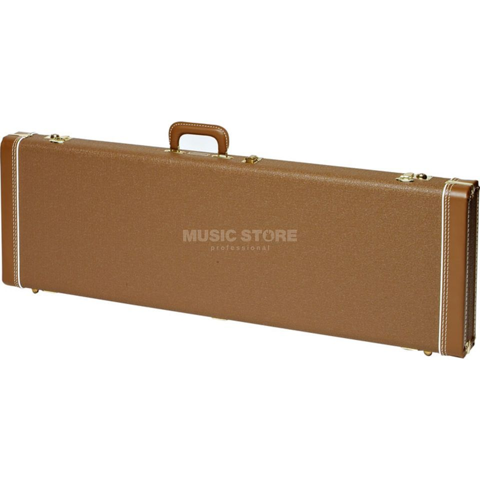 Fender Case MultiFit Hardshell J-Bass Brown with Gold Plush Product Image