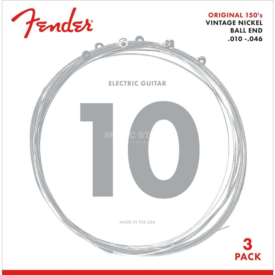 Fender E-Gitarren Saiten 150R 10-46 3-Pack Pure Nickel Product Image