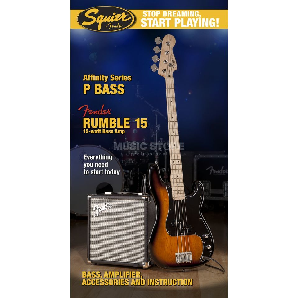 Fender Squier Affinity Series Precision Bass Pack Brown Sunburst w/ Fender Rumble 15 Immagine prodotto