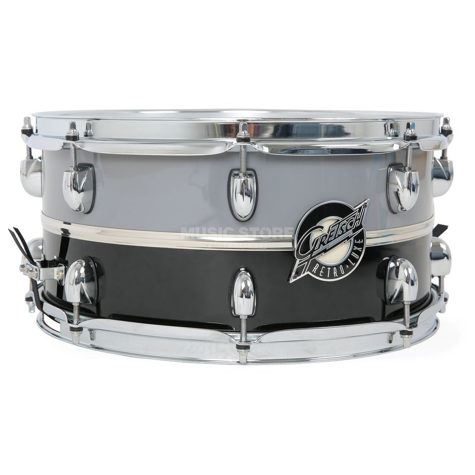 "Gretsch Retro-Lux Snare 14""x6,5"", Pewter/Black, Chrom Band Produktbillede"