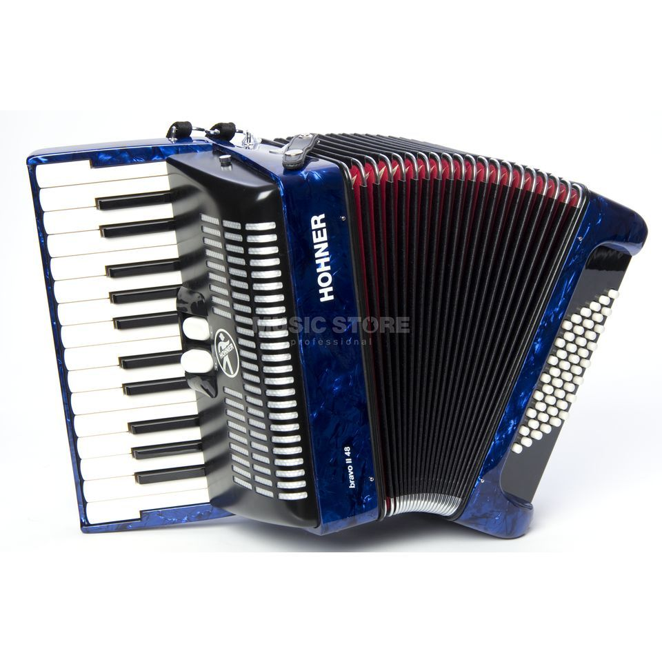 Hohner Piano-Accordion 48 bass II voices, Blue, Starter Acc. Produktbillede