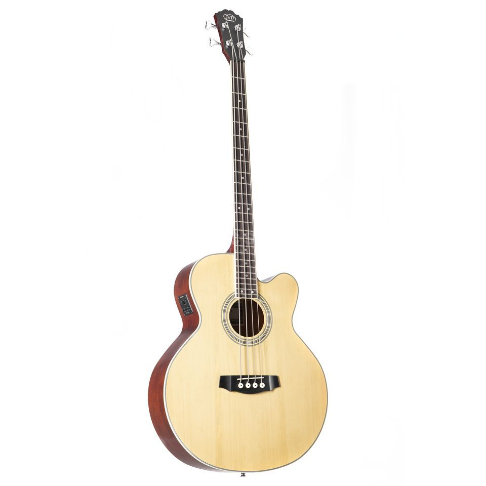 Jack & Danny ABG-1C 4-String Acoustic Bass Guitar, Cutaway, Natural Изображение товара