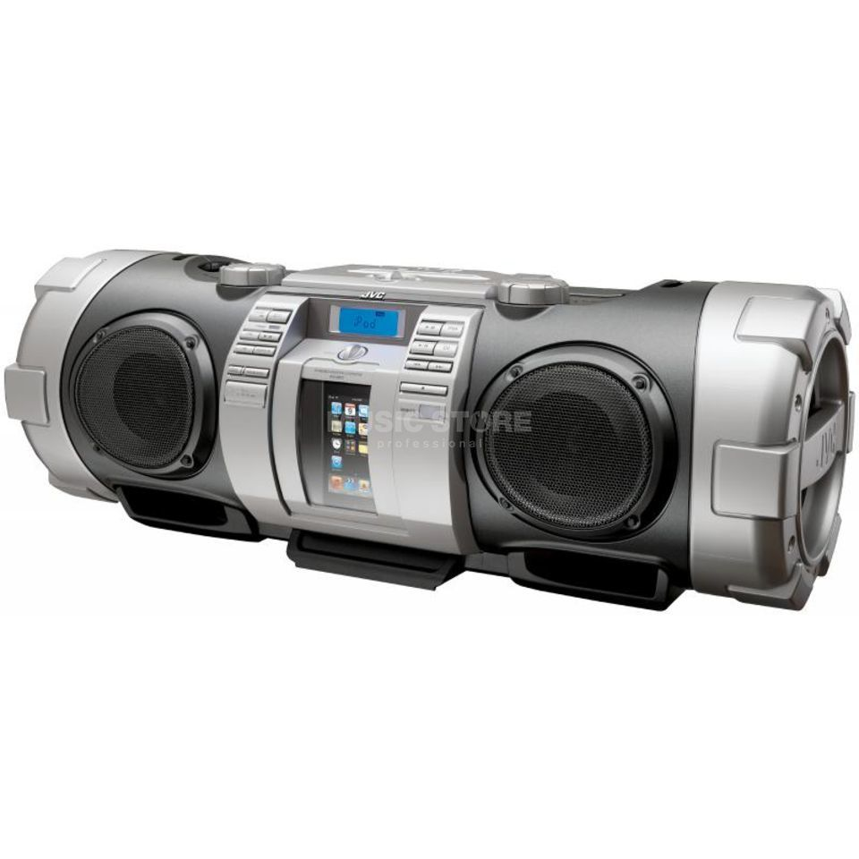 JVC RV-NB50E Boomblaster CD Player iPod Dock and Remote,Silver Produktbillede