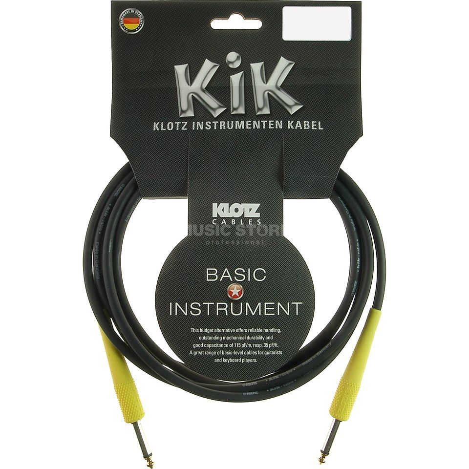 Klotz Instrument Cable 4,5m black KIK-Coloured lumi yellow Produktbillede