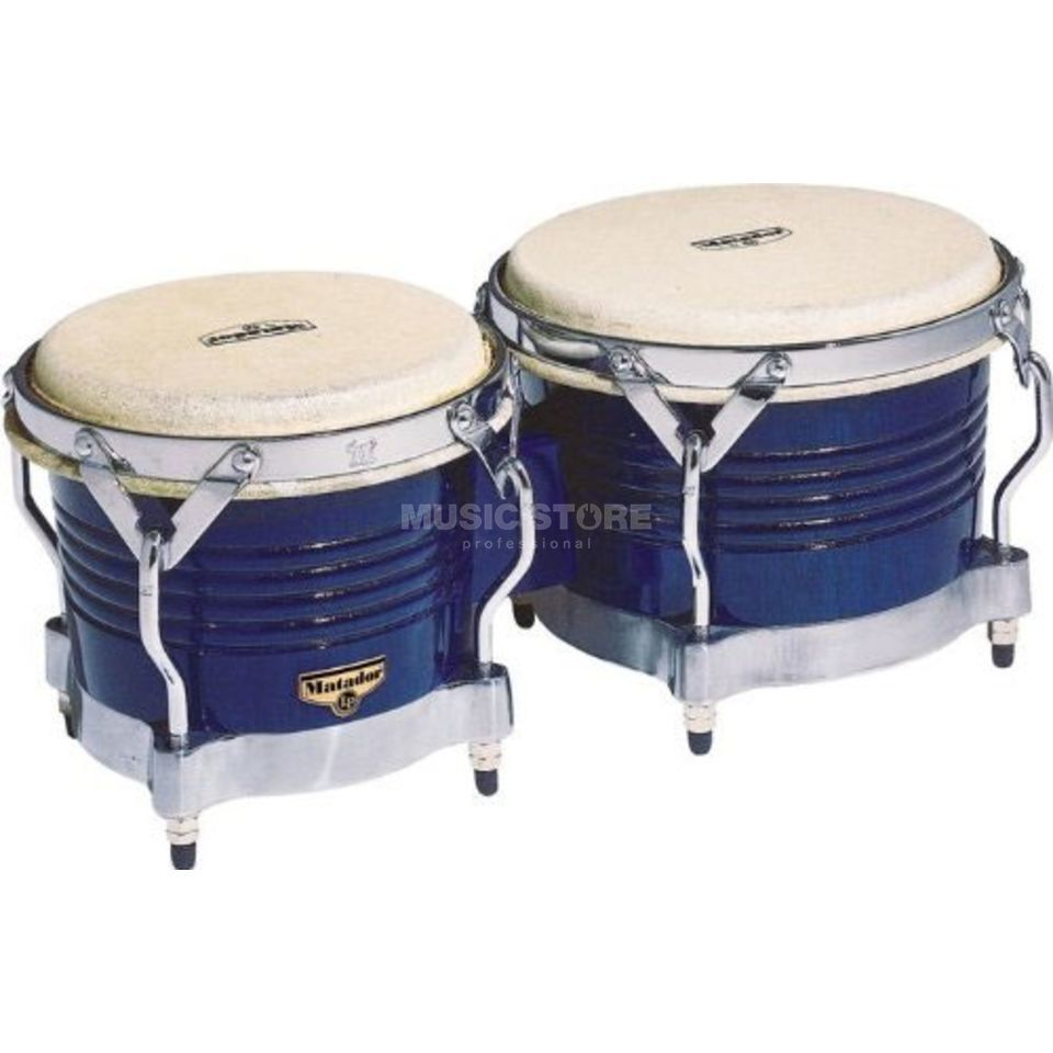 "Latin Percussion Matador Bongos M201-BLWC 7 1/4""+ 8 5/8"", Blue Изображение товара"