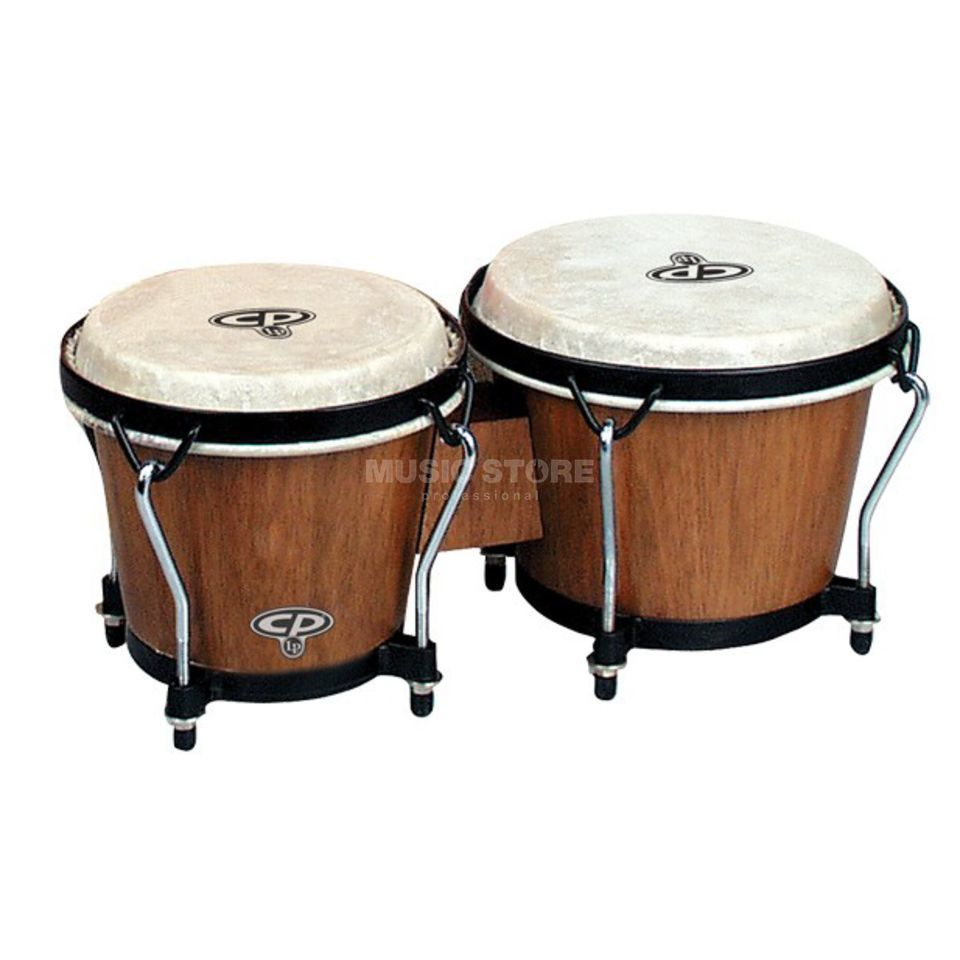 "Latin Percussion Traditional Bongos CP221-DW, 6""&7"", Dark Wood, Black Rims Product Image"