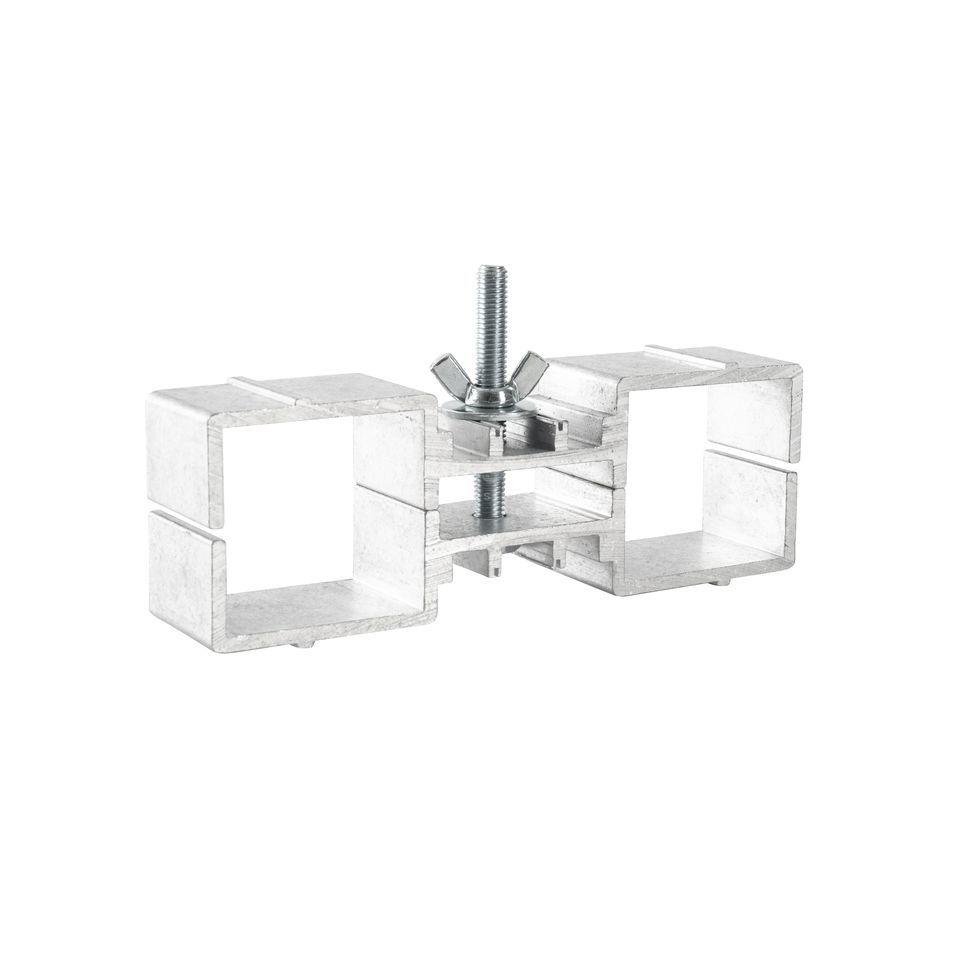 lightmaxx alu stage beinklemme verbinder f r 2 podestbeine nur hexa. Black Bedroom Furniture Sets. Home Design Ideas