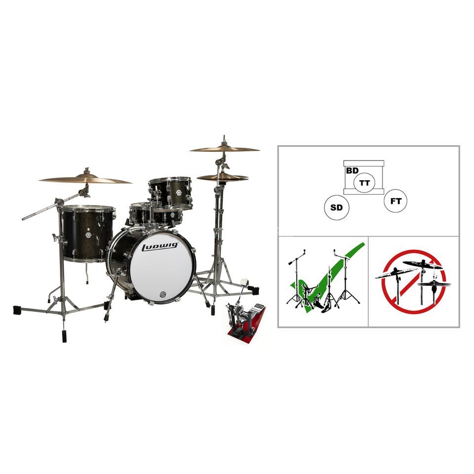LUDWIG Breakbeats Black Flatbase- Set Product Image