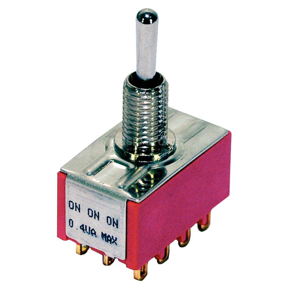 MEC Mini Toggle Switch chrome on-on-on 6 Pol Product Image