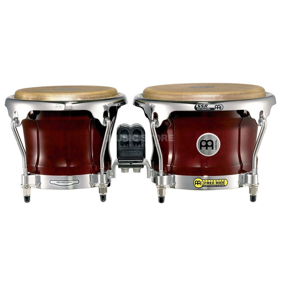 "Meinl FreeRide Bongos FWB400CR, 7""+8 1/2"", Cherry Red #CR Immagine prodotto"