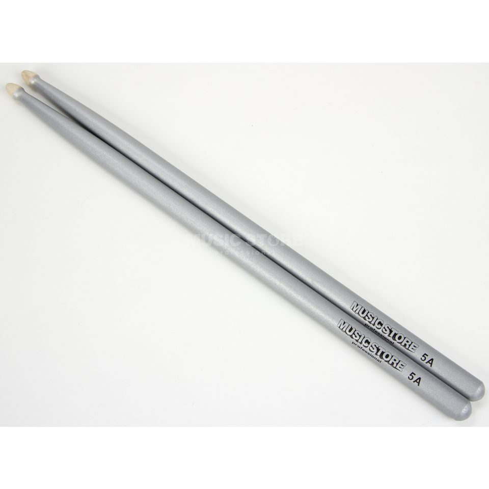 MUSIC STORE 5A Sticks, Silver Metallic, Hornbeam, Wood Tip Produktbillede