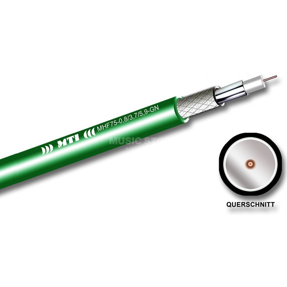 MUSIC STORE MHF-75 CoaxialCable 75ohm green, per meter Produktbillede