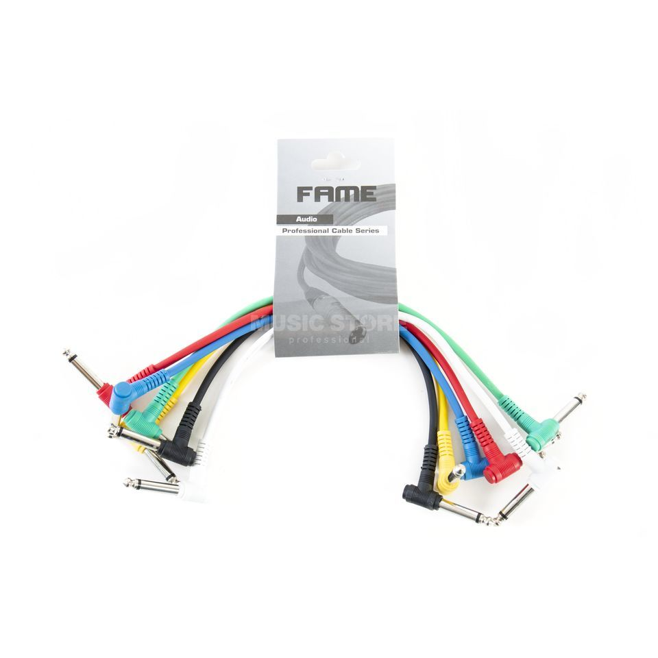 MUSIC STORE Patch Cable 0,3m Mono Right Angled, Pack Of 6 Produktbillede