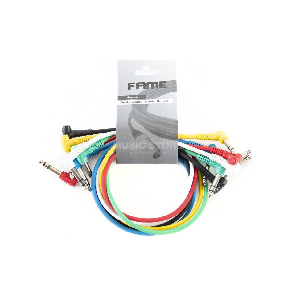 MUSIC STORE Patch Cables 0.6m Angled Pack Of 6 - Colourful Produktbillede