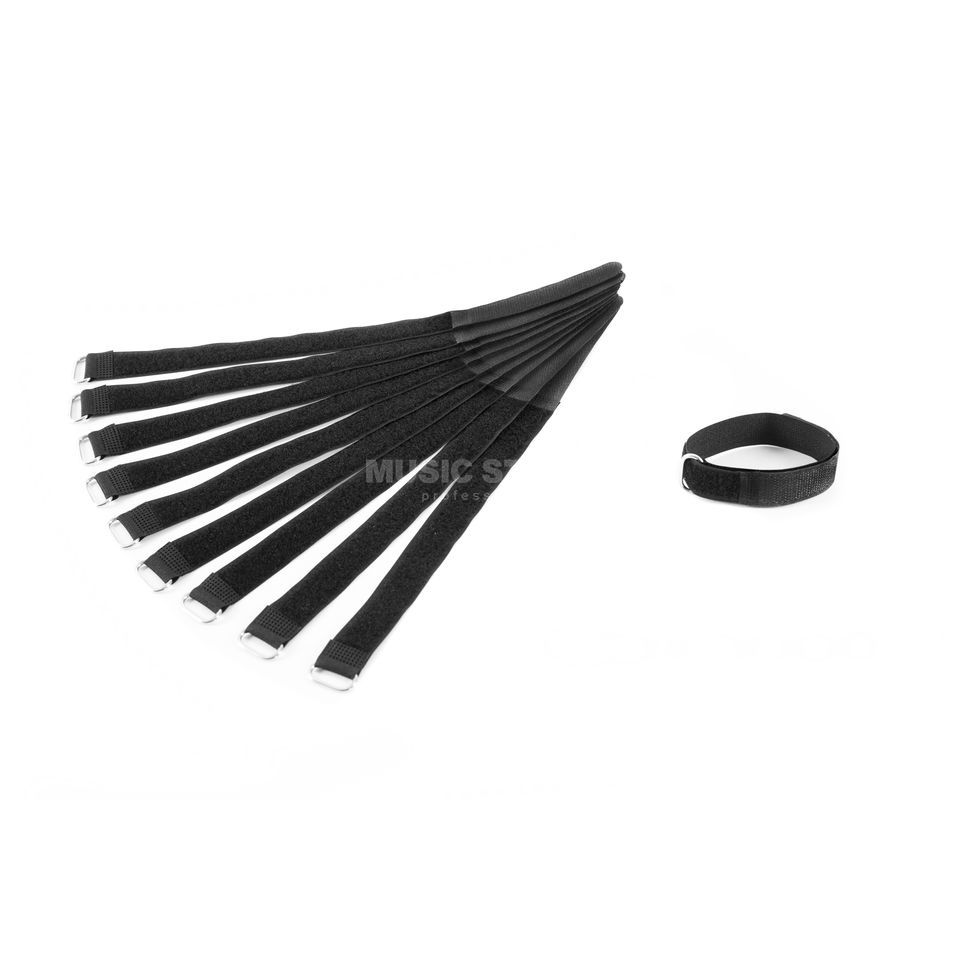 MUSIC STORE Velcro Cable Tie,30cm, black Pack of 10 Produktbillede